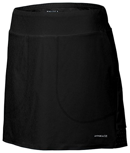 ANNIKA by Cutter & Buck Women's Moisture Wicking Drytec 50+ UPF Solid Pull-on Jersey Skort, Black, (Cutter Buck Golf Clothing)