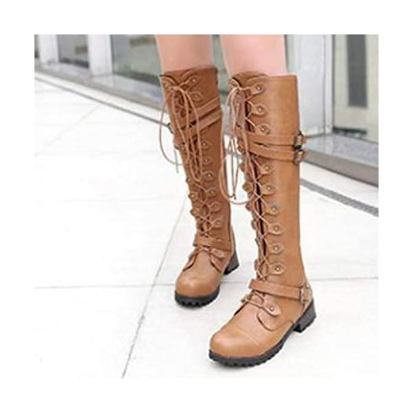 Women's Wick Lace-up Punk Tactical Thigh High Boots Military Buckle Gothic Steampunk Combat Shoes 4