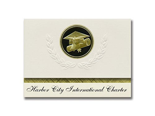 Signature Announcements Harbor City International Charter (Duluth, MN) Graduation Announcements, Presidential style, Elite package of 25 Cap & Diploma Seal. Black & Gold.