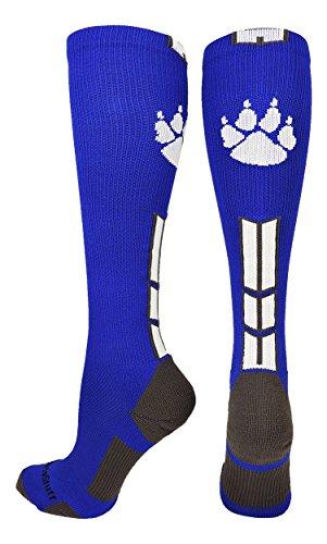 - MadSportsStuff Wild Paw Over The Calf Socks (Royal/White/Graphite, Medium)