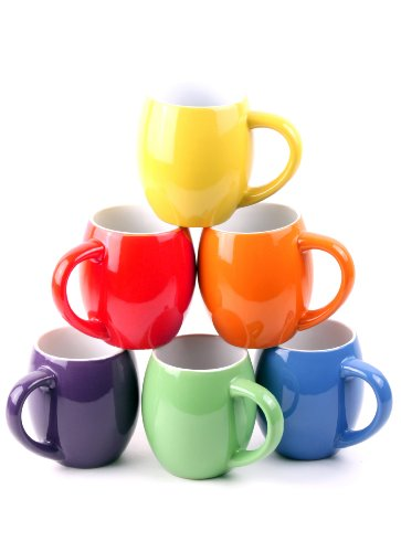 Francois et Mimi Set of 6 Colorful 14oz Small-mouth Ceramic Coffee Mugs