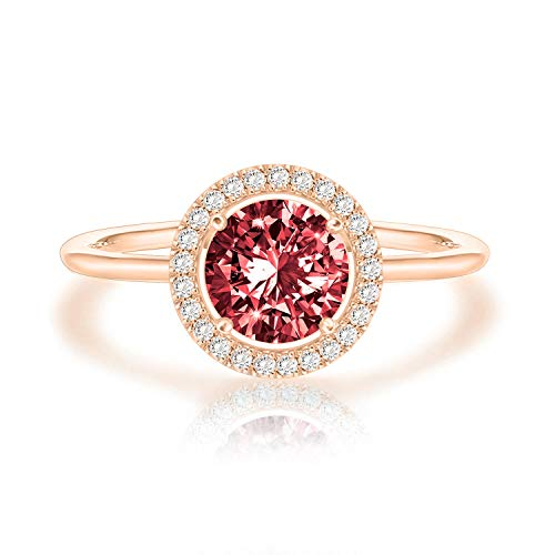 Swarovski Crystal 14K Rose Gold Plated Birthstone Rings | Rose Gold Rings for Women | Garnet Ring
