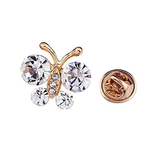 Reizteko Brooch Pin Elegant Butterfly Scarf Pin Lapel Brooch Button Hat Pin for Women's Jewelry (Crystal)