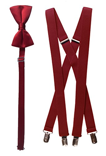 Apple Tie (Adults Matching Apple Red Adjustable Suspender and Bow Tie Set)