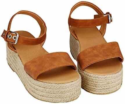 29a8cf9428 XFASY Womens Platform Sandals Slingback Summer Open Toe Espadrille Ankle  Adjustable Strap