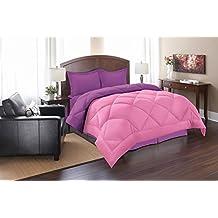 Elegant Comfort Silky Soft, Goose Down Alternative Reversible 3Pc Comforter Set, Full/Queen, Pink/Purple