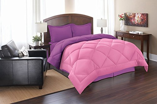 Silky Soft - Goose Down Alternative Reversible 3pc Comforter Set, Full/Queen, Pink/Purple