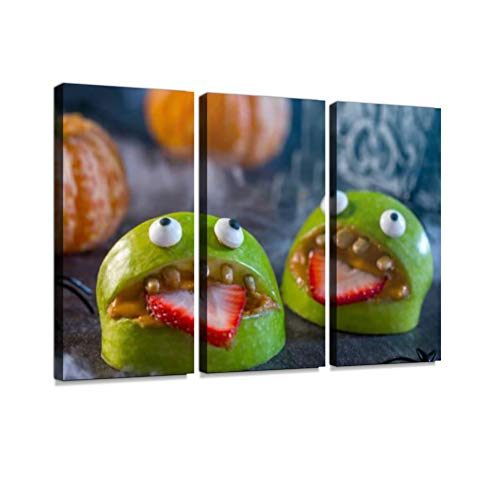 Healthy Halloween Apple Monsters Fruit Kids Treat Print On Canvas Wall Artwork Modern Photography Home Decor Unique Pattern Stretched and Framed 3 Piece]()