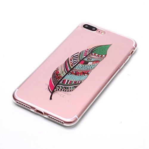 iPhone 7 Plus Hülle, Modisch Farbe Blatt Transparent TPU Silikon Schutz Handy Hülle Handytasche HandyHülle Etui Schale Schutzhülle Case Cover für Apple iPhone 7 Plus