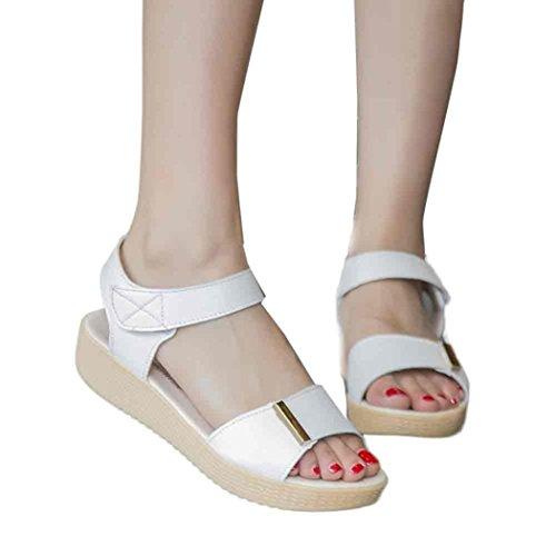 Sandalias de vestir, Ouneed ® Mujeres suave verano ocio zapatos dulce moldeado casa playa sandalias Blanco