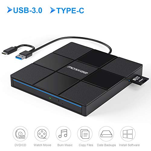Moskee Type C External CD DVD Drive,with USB Port SD Card Slot USB 3.0 Portable CD/DVD +/-RW Drive Rewriter Burner Data Transfer for MacBook,Laptop,Windows,Linux and Mac OS