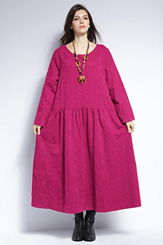 Dress amp;cotton Winter Size Plus Linen Fall Anysize Rosy Spring Dress Soft Y315 wI1pnxXq