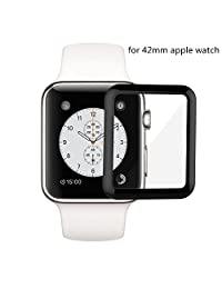 Apple Watch Screen Protector 42mm, 3D Curved Edge Full Coverage Apple Watch Cover Anti-Scratch Tempered Glass Screen Protector (42mm)