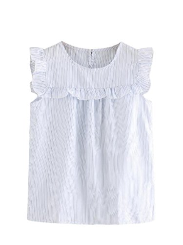 Floerns Women's Stripe Sleeveless Round Neck Casual Frill Trim Blouse Top White ()