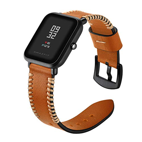 Fine Quick Release Leather Watch Band Wrist Straps Bracelet, for Huami Amazfit Bip Youth Watch Genuine Leather Watch Strap (Brown)