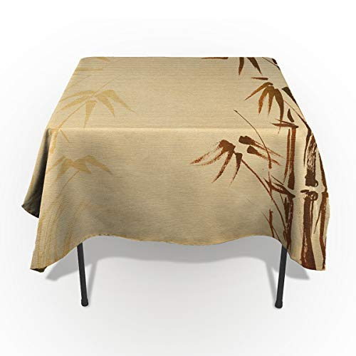 (Bamboo Home Cotton Linen Tablecloth Dust-Proof Table Cover for Kitchen Dinning Picnic Tabletop Decoration, Natural Sacred Bamboo Stems Inspired Folk Print, Rectangle Tablecloths 54 x 109-inch)