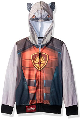 Boys Raccoon Costume (Guardians of the Galaxy Little Boys' Rocket Raccoon Sublimated Costume Zip-up Hoodie, Multi, 5/6)
