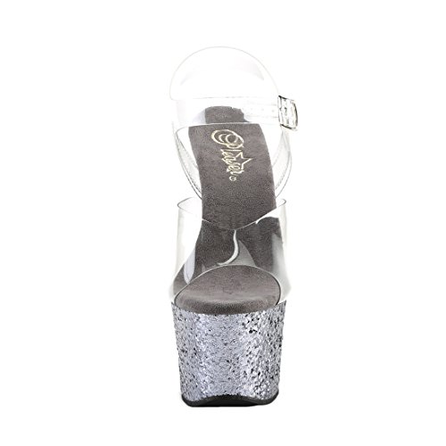 Pleaser Flamingo-801 - Zapatos de Vestir de Sintético Para Mujer Clr/Pewter Glitter