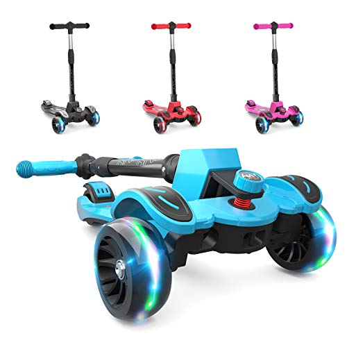 6KU Kids Kick Scooter with Adjustable Height, Lean to Steer, Flashing Wheels for Children 3-8 Years Old Blue -