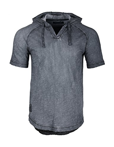 ZIMEGO Vintage Hipster Rounded Bottom Short Sleeve Pullover Raglan Henley Hoodie, Slate Navy, Medium