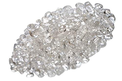 Quartz Chip - ZenQ 1 lb Clear Quartz Tumbled Stone Chips Crushed Natural Crystal Quartz Pieces