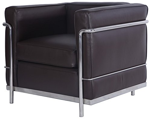 Modern Style Armchair/Loveseat/Sofa 1 Seater (Dark Brown Aniline Leather)