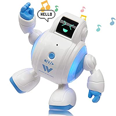 Yoego Kids Talking Robot Toys, 4 Cute Sound Effects with Repeats Your Said Voice, Touch Sensor 8 Music & 4 LED Expressions with Flashing Lights - Mini Interactive Smart Robots, Best Gift for Kids