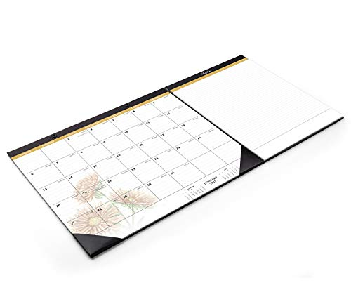 Shiplies 2019 Daisy / Giraffe Monthly Desk Pad Calendar with Extra 2 Pack Legal Writing Pads for Daily Notes, 22.5