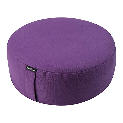 REEHUT Zafu Yoga Meditation Cushion, Round Meditation Pillow Filled with Buckwheat, Zippered Organic Cotton Cover, Machine Washable - 4 Colors and 3 Sizes (Purple, 16