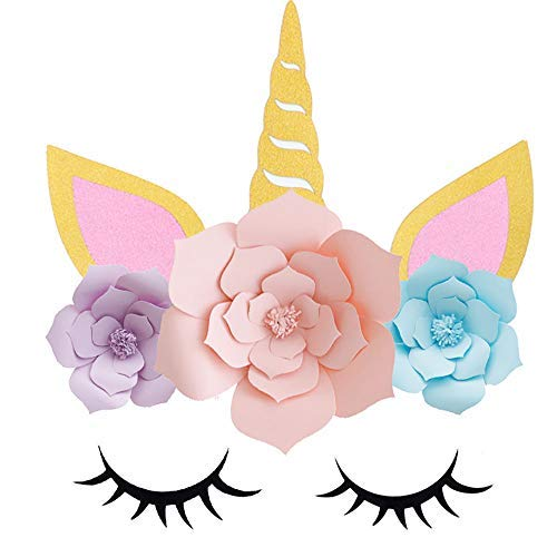 DIY Unicorn Backdrop Party Supplies Decorations Paper Flower Backdrop with Glitter Giant Horn Ears Eyelashes Set for Child Birthday Party Background -