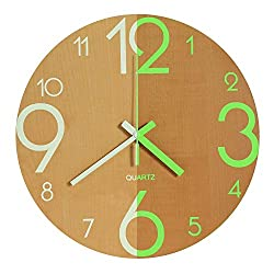 Vitaa Wall Clock, 12 inch Wooden Silent Non-Ticking Morden Wall Clocks with Night Lights for Indoor/Outdoor/Living Room/Bedroom/Kitchen Decor,Battery Operated (Yellow)