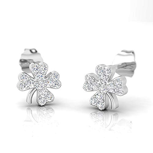 IGI Certified 1/4 Carat Natural Diamond Sterling Silver Clover Stud Earrings for Women (J-K Color, I2-I3 Clarity) ()