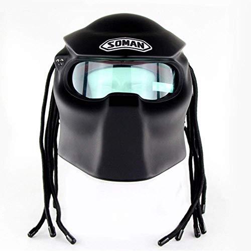 DYM258 Predator Motorcycle Helmet Full Face Jagged Warrior Harley Retro Scorpion Mask D.O.T Certified Cross-Country Fringed Braids Helmet LED Light,Matte Black,L59~60CM