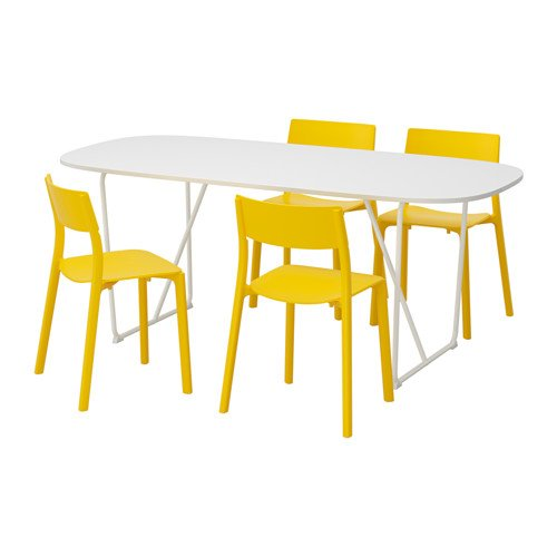 Ikea Table and 4 chairs, white, yellow 12204.20517.1814