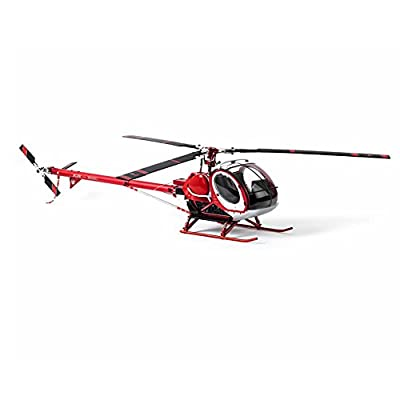 Schwarzer 300C Hughes 9CH RC Helicopter Brushless RTF All Metal high Simulation Remote Control Helicopter Static Aircraft Model (Red)