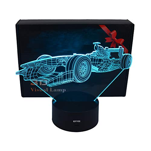 LLUUKK Visual 3D Night light Lamp Racing car Race Driver toys Desk Lamp Table decoration household accessories Kids gift boys festival for sports lovers by LLUUKK