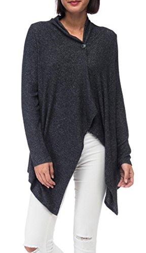 Bobeau Women's Signature Sweater Cardigan Soft, Cozy & Comfortable Rayon,Charcoal Grey,Medium (Signature Dress Sweater)