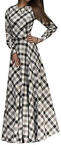 Fit Womens Autumn Plaid Crewneck Long Cruiize White Sleeve Maxi Slim Dress wgqIWP