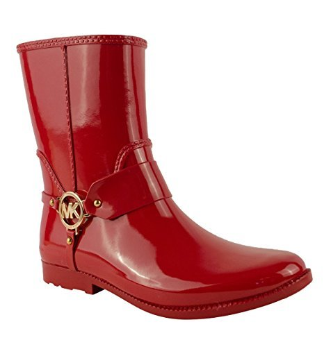 - Michael Kors Fulton Harness Womens Red Rubber Mid Rain Booties Size 6
