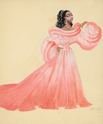Josephine Baker - Pink Gown Vintage Poster (artist: Bertaux) France c. 1948 (9x12 Art Print, Wall Decor Travel ()