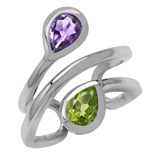 Natural Pear Shape Amethyst & Peridot White Gold Plated 925 Sterling Silver Double Line Cuff Ring Size 9 (Pear Peridot Ring)