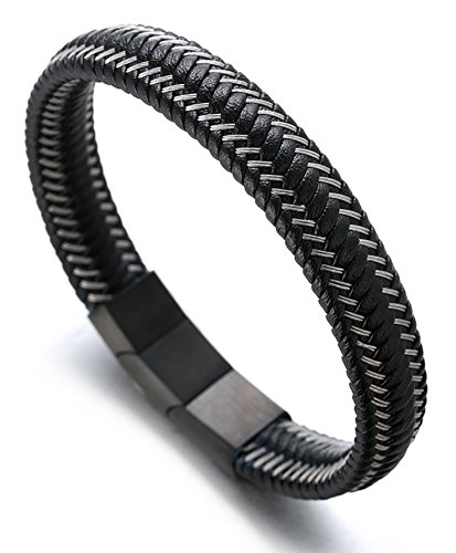 21.5-23cm with Free Giftbox Halukakah Plus ● Jazz ● Mens Genuine Leather Bracelet Titanium Magnetic Clasp Size Adjustable 8.5-9