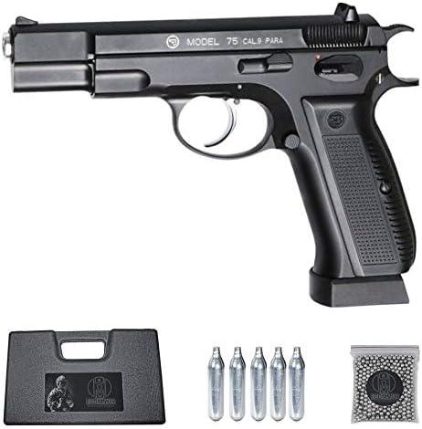 Ecommur. CZ 75 blowback   Pistola de perdigones (Bolas BB's de Acero) de Aire comprimido semiautomática 4,5mm + maletín + balines y CO2