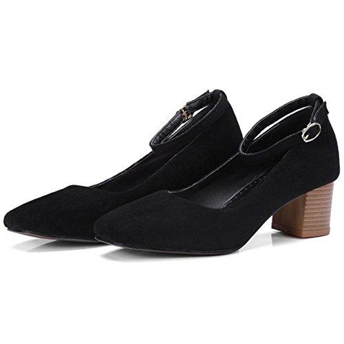TAOFFEN Women's Ankle Strap Court Shoes Black bMP7HBOApD