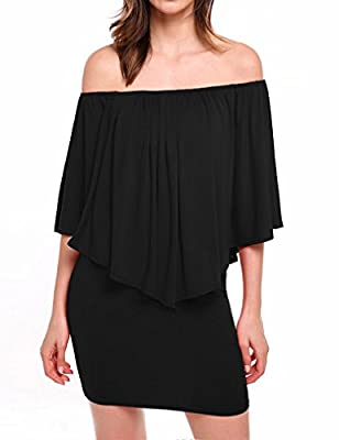 JQstar Women's Sexy Off Shoulder Ruffles Bodycon Mini Dress