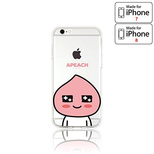 Price comparison product image Kakao Friends (KakaoTalk Theme Characters / Friends Pop) iPhone 7 / iPhone 8 Phone Case - Soft Silicone Based Protective Case Cover (APEACH 7 / 8 Regular)
