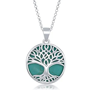 """Sterling Silver Natural Stone Tree of Life Circle Pendant with 18"""" Thick Chain"""