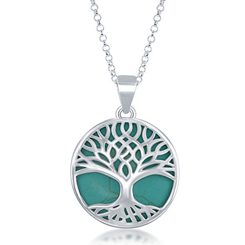 (Beaux Bijoux Sterling Silver Natural Turquoise Stone Tree of Life Circle Pendant with 18
