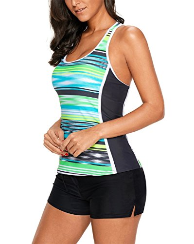 Fendxxxl Plus Size Tankini Swimsuits for Women Racerback Swim Top No Bottom F35-410604 Green S by Fendxxxl (Image #4)