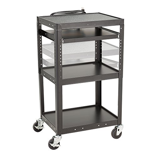 Norwood Commercial Furniture Adjustable Height Metal AV Cart with Electric Power & Sliding Tray, NOR-GNO1009-PK-SO by Norwood Commercial Furniture (Image #2)